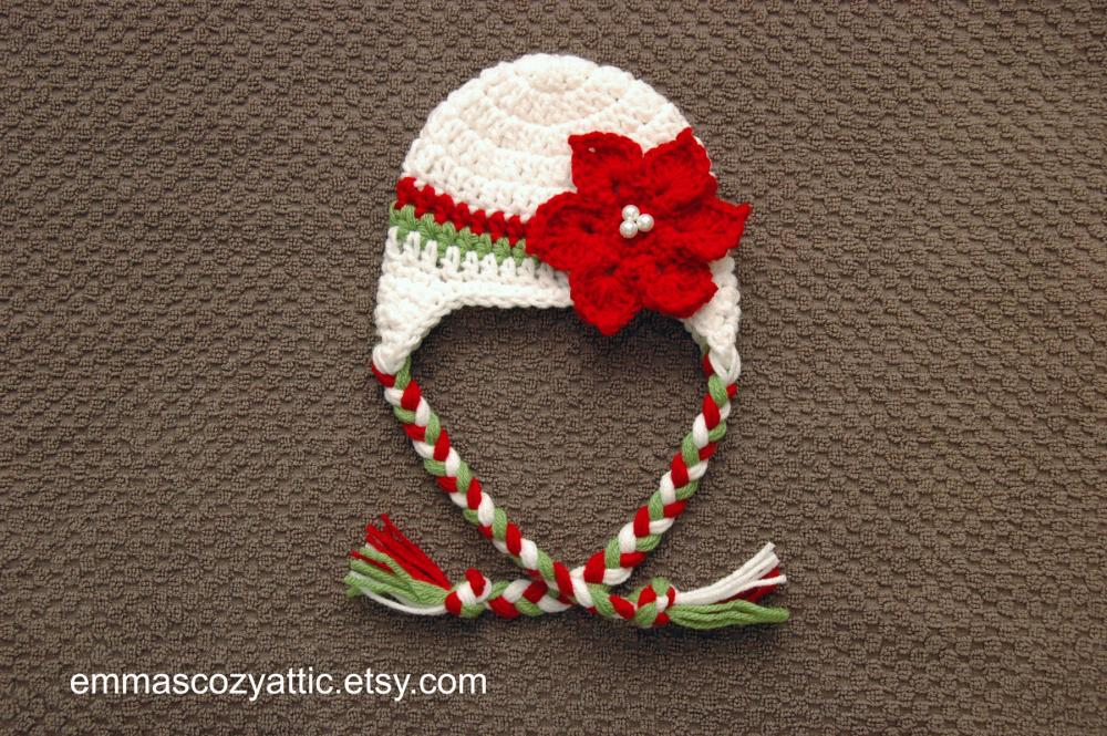 Crochet Christmas Poinsettia earflap hat for newborn baby boys and girls in newborn size - READY TO SHIP