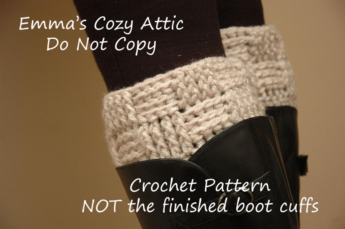 Crochet PATTERN - Basketweave Boot Cuffs - Boot Cuff - Leg Warmers ...